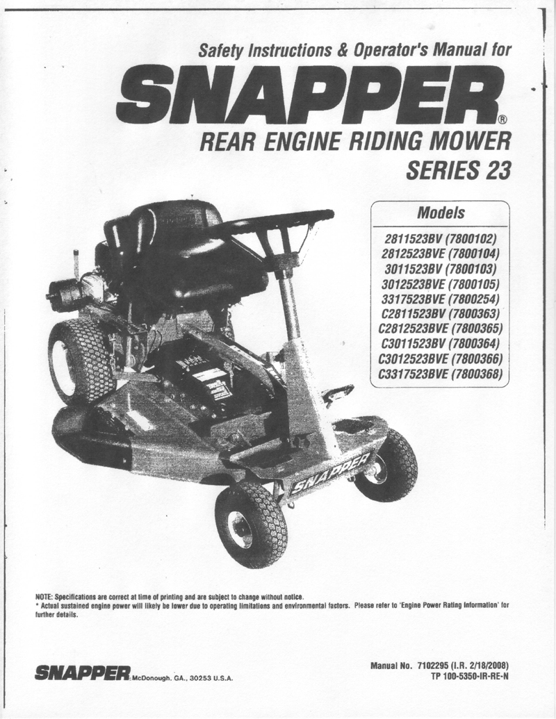 Snapper Riding Mower Cover instructional and owners manuals for lawn and garden equipment snapper series 23 wiring diagram at aneh.co
